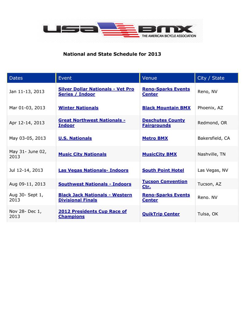 2013 bmx race schedule