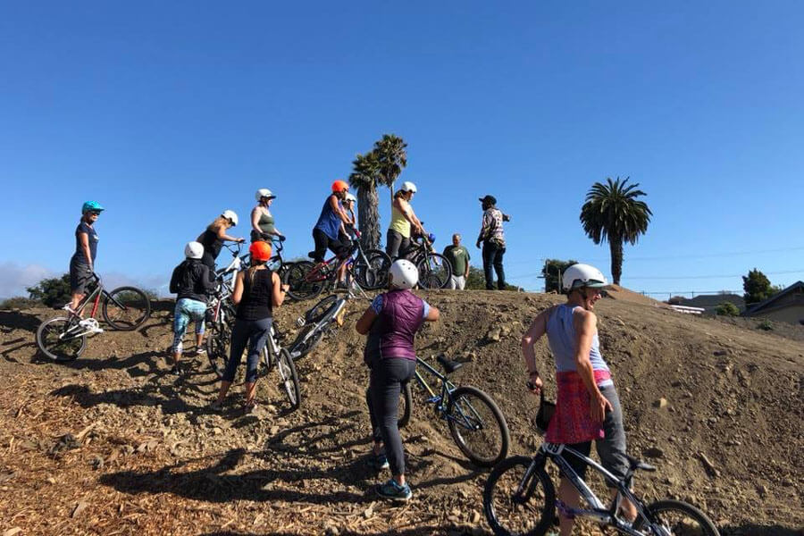 bay area bmxers with title nine at dirt world