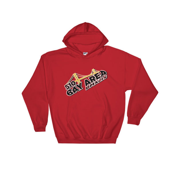 bay area bmxers logo hooded sweatshirt red