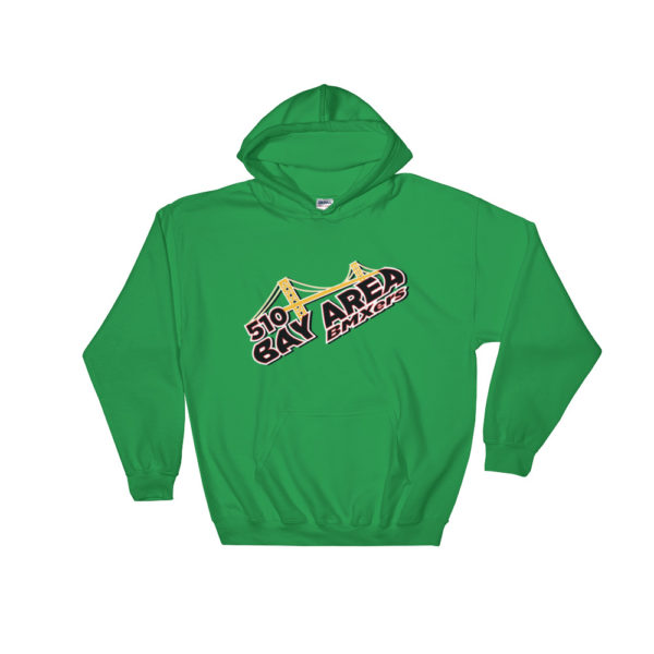 bay area bmxers logo hooded sweatshirt green