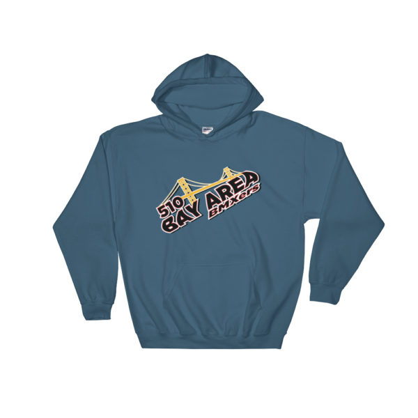 bay area bmxers logo hooded sweatshirt indigo blue
