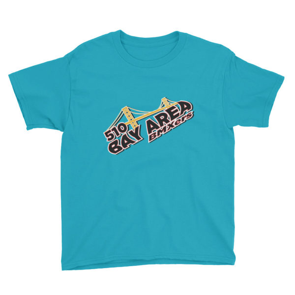 bay area bmxers logo youth t-shirt caribbean blue