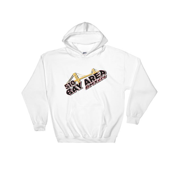 bay area bmxers logo hooded sweatshirt white