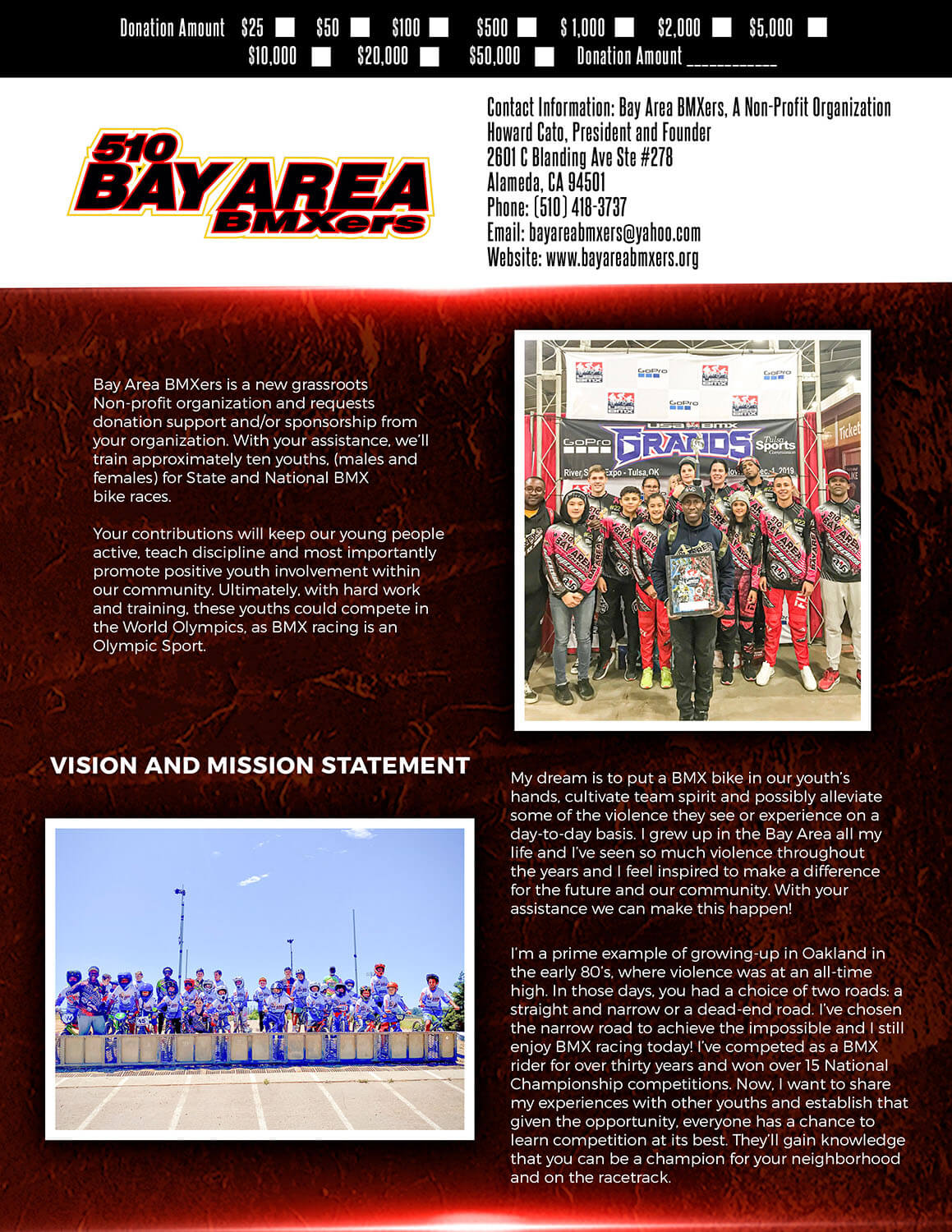 Bay Area BMXers sponsors and donations flyer